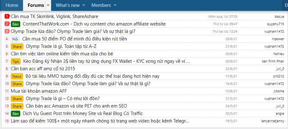 Danh sách các diễn đàn kiếm tiền online